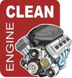 Car engine wash stock illustration