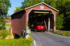 Car Enters Landis Valley Covered Bridge Royalty Free Stock Images
