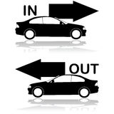 Car entrance and exit. Icon set showing a car entrance and a car exit stock illustration