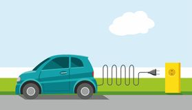 Car, environmental, electrical, charge, powered by energy, ECOCAR, color, flat. The ECOCAR on the road, stopped and charged from the electrical outlet. Ecology Royalty Free Stock Photography