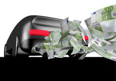 Car with euro bills Stock Photography
