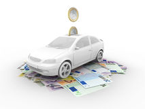 Car on euro bills. And euro coins royalty free illustration