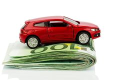 Car on euro notes Royalty Free Stock Images