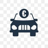 Car with euro vector icon isolated on transparent background, Ca royalty free illustration