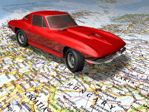 Car on the Europe map. 3D render of a car on the Europe map Royalty Free Stock Image