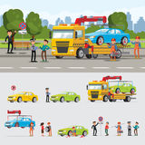 Car Evacuation Concept. With drivers policeman workers and automobile lifting loading towing vector illustration royalty free illustration