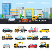 Car Evacuation Elements Concept. With tow trucks in different situations police ambulance and city transport vector illustration stock illustration