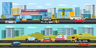 Car Evacuation Horizontal Banners. With tow truck transporting automobile car rescue and assistance on road vector illustration stock illustration