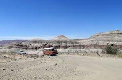 Car excursion in Ischigualasto, Valle de la Luna Stock Photo