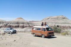 Car excursion in Ischigualasto, Valle de la Luna Stock Photography