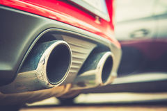 Car exhaust pipe. Close up of a car dual exhaust pipe Stock Photo