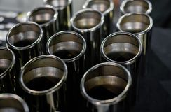 Car exhaust pipes. Close up view Royalty Free Stock Image
