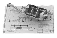 Car exhaust silencer on the drawing background Stock Image