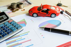 Car expenses calculate with notes Stock Image