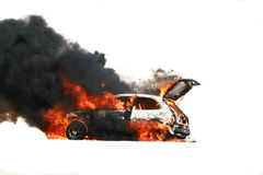 Car explosion. A rally car explosion caught on camera Stock Photos