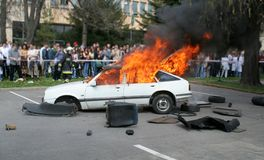 Car explosion. And fire with people Royalty Free Stock Photography