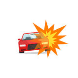 Car explosion, automobile disaster, auto fire accident, damaged crime. Car explosion vector illustration isolated, concept of automobile disaster, auto fire Stock Image