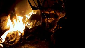 Car Arson In Protest, Burning Car, Rioters Staged A Mess Night. Car Explosion At Night, Slow Motion stock video footage