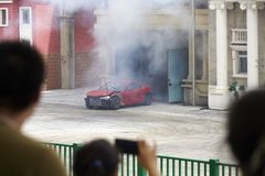 Car explosion performance Royalty Free Stock Images