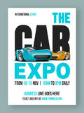 The Car Expo Flyer, Template or Banner design. The Car Expo Template, Banner or Flyer design with glossy luxurious cars and event details Stock Images