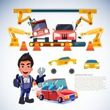 Car factor. robotic arms make car. automations. mechanic enginee. R character design - vector illustration Stock Images