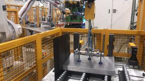 Car factory automation. Steel metal production with robot machine on automotive manufacture plant. Industry technology. Industrial