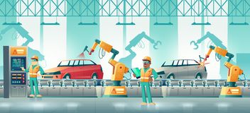 Robotized car factory cartoon vector concept stock illustration