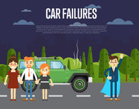 Car failures concept with people near broken car Stock Photography