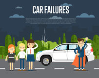 Car failures concept with people Royalty Free Stock Photos