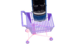 Car falling into shopping-cart Stock Photography