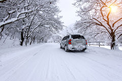 Car and falling snow in winter on forest road with much snow. Stock Image