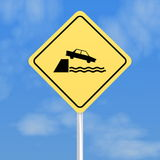 Car falling in water sign Royalty Free Stock Photography