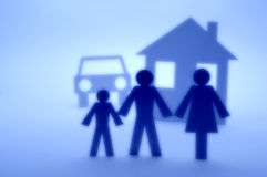 Car Family House Home Insurance. Abstract silhouette family in front of house and car Royalty Free Stock Photography