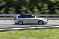 Car in fast motion with panning effect on highway. Transport :car in fast motion with panning effect on highway Royalty Free Stock Images