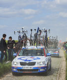 The Car of FDJ.fr Team on the Roads of Paris Roubaix Cycling Rac. Carrefour de l'Arbre,France-April 13,2014: The official car of FDJ.fr team carrying spare Royalty Free Stock Photo