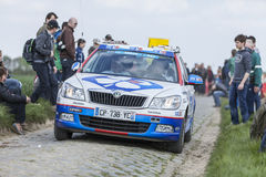 The Car of FDJ.fr Team on the Roads of Paris Roubaix Cycling Rac Stock Photo