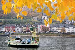 Car ferry across the Rhine Stock Photo