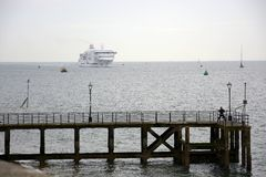 Car Ferry approaching Portsmouth. England Stock Photography