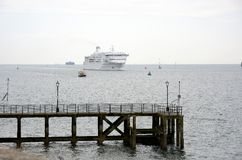 Car Ferry approaching Portsmouth. England Stock Image