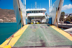 Car ferry boat in Greece linking the islands Royalty Free Stock Image