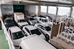 Car Ferry Boat with rows of cars. Royalty Free Stock Image