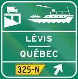Car Ferry in Canada. Guide and information road sign in Quebec, Canada - Car Ferry Stock Image