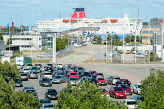 Car ferry and carpark Royalty Free Stock Images