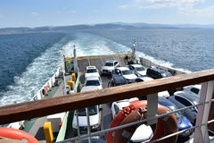 Car ferry. Ferry croatia automobile boat car carrier carrying city coast coastal commerce connecting connection royalty free stock image