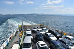 Car ferry. Ferry croatia automobile boat car carrier carrying city coast coastal commerce connecting connection royalty free stock images