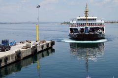 Car ferry crosses the Dardanelles Royalty Free Stock Image
