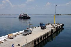 Car ferry crosses the Dardanelles Stock Photo