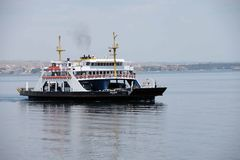 Car ferry crosses the Dardanelles Royalty Free Stock Photos