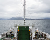 Car ferry crossing between Armadale and Mallaig, Scotland. ARMADALE, SKYE, SCOTLAND - SEPTEMBER 23, 2014: car ferry bow, with retracted loading ramp, in Stock Photos