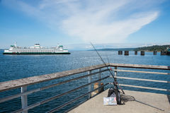 Car Ferry and Fishing Pier Stock Photography